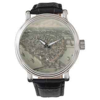 Vintage Pictorial Map of Pittsburgh (1902) Wrist Watch