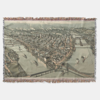 Vintage Pictorial Map of Pittsburgh (1902) Throw Blanket