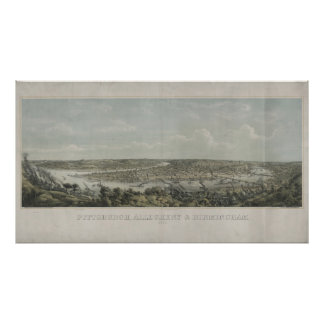 Vintage Pictorial Map of Pittsburgh PA (1871) Poster