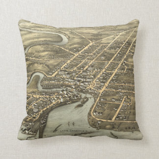 Vintage Pictorial Map of Plattsburgh NY (1877) Throw Pillow