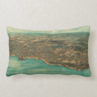 Vintage Pictorial Map of Plymouth MA (1910) Lumbar Pillow