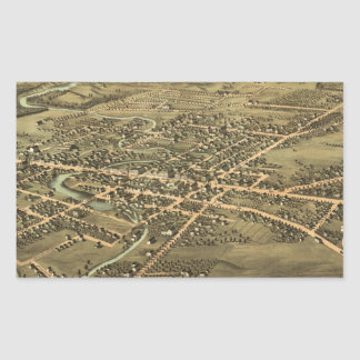 Vintage Pictorial Map of Pontiac Michigan (1867) Rectangular Stickers