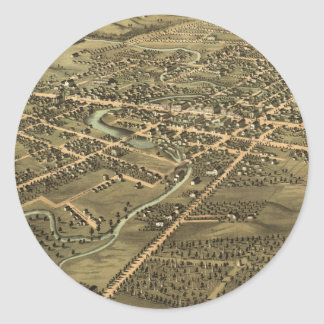 Vintage Pictorial Map of Pontiac Michigan (1867) Stickers