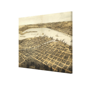Vintage Pictorial Map of Port Huron MI (1867) Canvas Print
