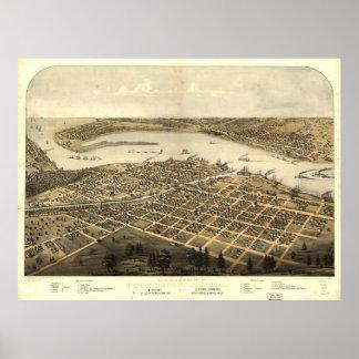 Vintage Pictorial Map of Port Huron MI (1867) Poster