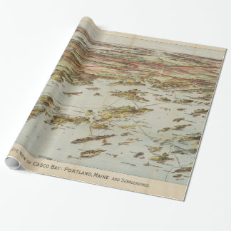 Vintage Pictorial Map of Portland Maine (1906) Wrapping Paper