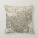 Vintage Pictorial Map of Portsmouth NH (1877) Throw Pillows