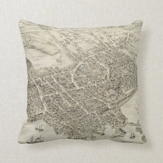 Vintage Pictorial Map of Portsmouth NH (1877) Pillows