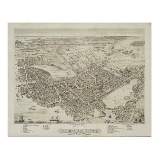 Vintage Pictorial Map of Portsmouth NH (1877) Print
