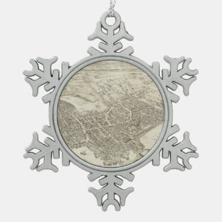Vintage Pictorial Map of Portsmouth NH (1877) Snowflake Pewter Christmas Ornament