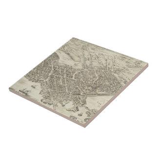 Vintage Pictorial Map of Portsmouth NH (1877) Tile