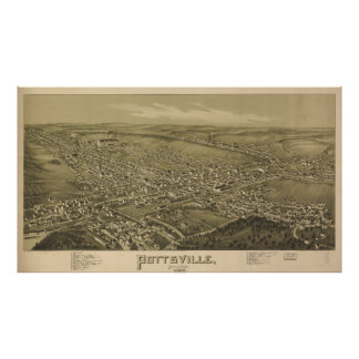 Vintage Pictorial Map of Pottsville PA (1889) Poster