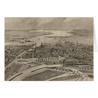 Vintage Pictorial Map of Providence RI (1896) Card