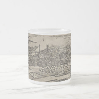 Vintage Pictorial Map of Providence RI (1896) Frosted Glass Coffee Mug