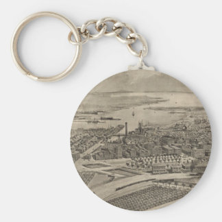 Vintage Pictorial Map of Providence RI (1896) Keychain