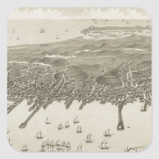 Vintage Pictorial Map of Provincetown (1882) Square Sticker