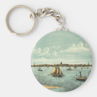 Vintage Pictorial Map of Provincetown (1887) Basic Round Button Keychain