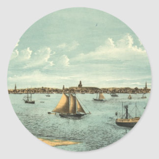 Vintage Pictorial Map of Provincetown (1887) Classic Round Sticker