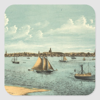 Vintage Pictorial Map of Provincetown (1887) Square Sticker