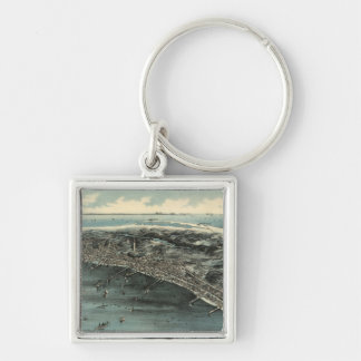 Vintage Pictorial Map of Provincetown (1910) Silver-Colored Square Keychain