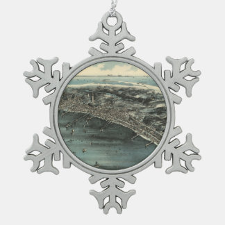 Vintage Pictorial Map of Provincetown (1910) Snowflake Pewter Christmas Ornament