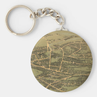 Vintage Pictorial Map of Quincy (1877) Basic Round Button Keychain