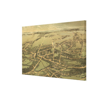Vintage Pictorial Map of Quincy (1877) Canvas Print
