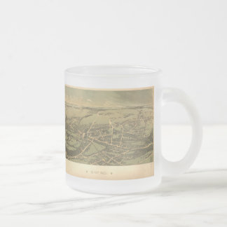 Vintage Pictorial Map of Quincy (1877) Frosted Glass Coffee Mug