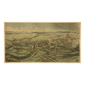 Vintage Pictorial Map of Quincy (1877) Poster