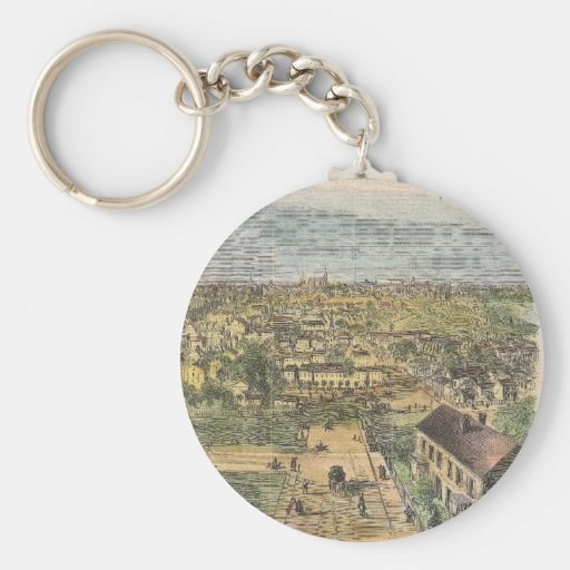 Vintage Pictorial Map of Richmond Virginia (1862) Key Chain