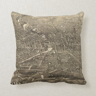 Vintage Pictorial Map of Rochester NY (1880) Throw Pillow