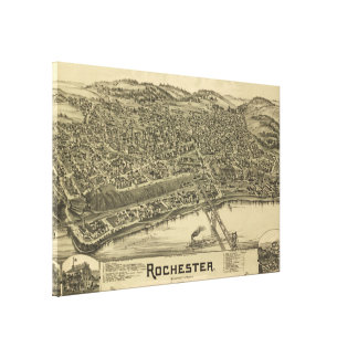 Vintage Pictorial Map of Rochester PA (1900) Canvas Print