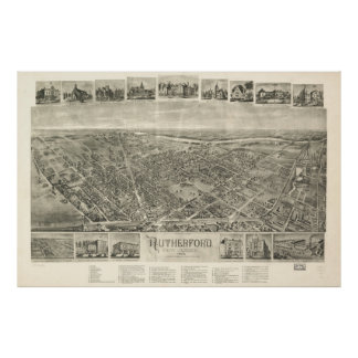Vintage Pictorial Map of Rutherford NJ (1904) Poster