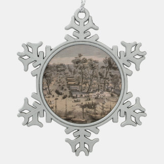 Vintage Pictorial Map of Sacramento (1850) Snowflake Pewter Christmas Ornament