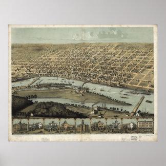 Vintage Pictorial Map of Saginaw Michigan (1867) Poster