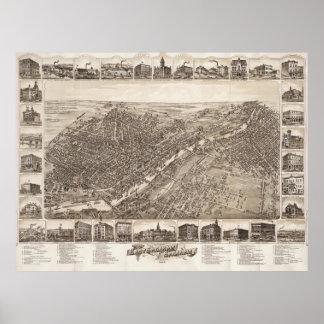 Vintage Pictorial Map of Saginaw Michigan (1885) Poster