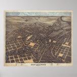 Vintage Pictorial Map of San Antonio TX (1873) Poster