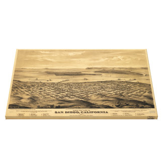 Vintage Pictorial Map of San Diego (1876) Canvas Print