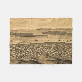 Vintage Pictorial Map of San Diego (1876) Fleece Blanket