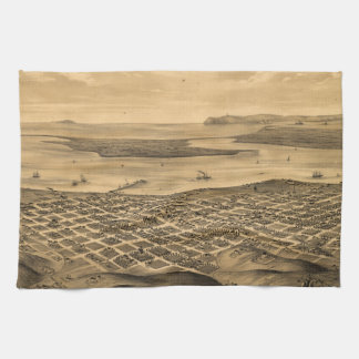 Vintage Pictorial Map of San Diego (1876) Kitchen Towel