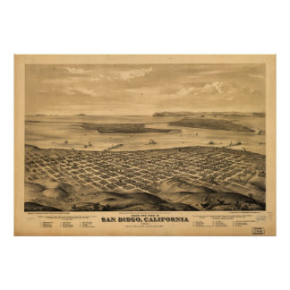 Vintage Pictorial Map of San Diego (1876) Poster