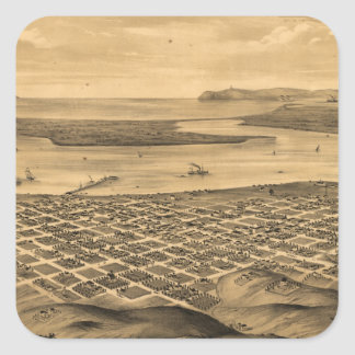 Vintage Pictorial Map of San Diego (1876) Square Sticker