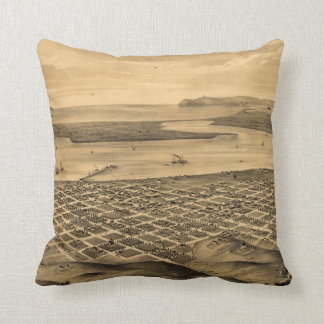Vintage Pictorial Map of San Diego (1876) Throw Pillow