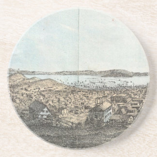 Vintage Pictorial Map of San Francisco (1854) Coaster