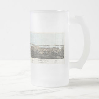 Vintage Pictorial Map of San Francisco (1854) Frosted Glass Beer Mug