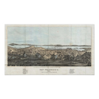 Vintage Pictorial Map of San Francisco (1854) Poster