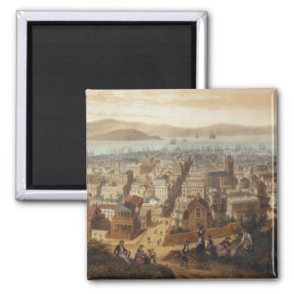 Vintage Pictorial Map of San Francisco (1860) 2 Inch Square Magnet