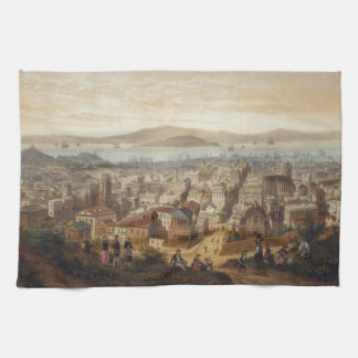 Vintage Pictorial Map of San Francisco (1860) Kitchen Towels