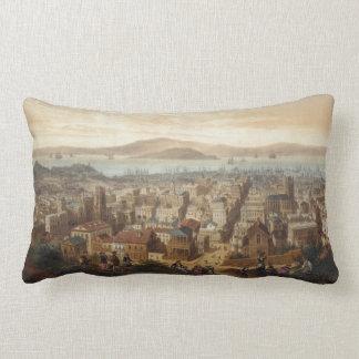 Vintage Pictorial Map of San Francisco (1860) Lumbar Pillow