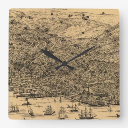 Vintage Pictorial Map of San Francisco (1875) Square Wall Clocks